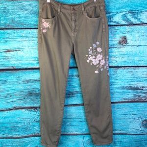 American Eagle Embroidered Floral Crop Jeggings